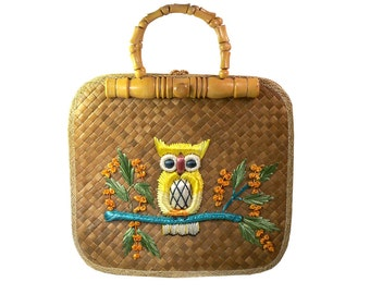 Vintage Owl Straw Purse Summer Tote Bag, Souvenir from the Philippines