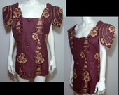Fabulous rare unusual hand made eggplant maroon gold blouse XL Plus huge epaulettes polished cotton hibiscus novelty print OOAK new