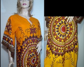 Melon orange cotton batik maxi festival dress - Medium - huge angel sleeves - red hearts gold brown garnet jewel tones dashiki caftan