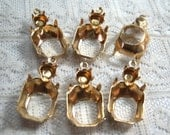 12x10 Octagon w/ 20ss round on top Brass Prong Rhinestone Setting Open Back Qty 6