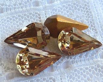 13x8 Pear Teardrop Swarovski Light Colorado Topaz Rhinestone Quantity 4