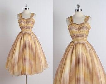 Moab Sunset .  vintage 1950s dress . vintage cocktail dress . 5321