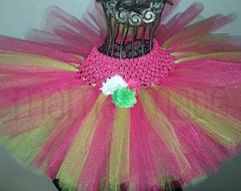Girl's Tutu, Pink and Green Tutu, Fuchsia and Lime Green Tutu, Flower Tutu, Birthday Tutu, Flower Girl Tutu, Summer Tutu, Photo Prop Tutu