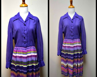 Vintage 50s/60s Lilac Purple Multi Colored Stripe Semi Sheer Day Dress Size M