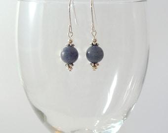 Blue Aventurine Earrings Blue Gemstone Earrings Blue Bead Earrings Dusty Blue Drop Earrings Blue Gray Earrings Silver Blue Drop Earrings