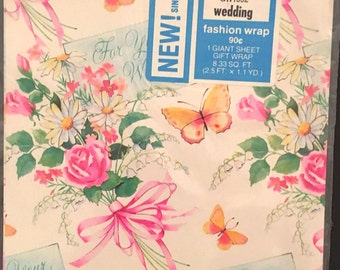 Vtg Wedding Gift Wrap - 1 Giant Sheet - Flower Bouquet and Butterflies - In Original Package