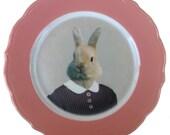 """SALE - Imperfect - Bernice the Bunny, school portrait plate 8.25"""""""