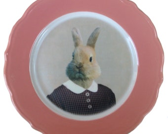 Bernice the Bunny, school portrait plate - Altered Vintage Plate 8.25""