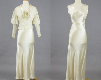 Vintage 1930s Wedding Dress, Silk Bias 30s Dress with Lace Peplum Jacket, 1930s Gown