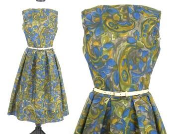 50s Cotton Dress, Vintage 1950s 60s Dress, Green & Blue Floral Paisley Print Dress, Pat Perkins M - L