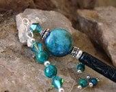 Chrysocolla Gemstones and Crystals Hair Stick - Blue Green with Chrysocolla, Swarovski Crystals Geisha Hair Stick Pin - Dania