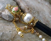 Pink Rose Tensha Hair Stick with Swarovski Cream Pearls and Pink Czech Faceted Glass - Geisha Hair Accessories - Nanette