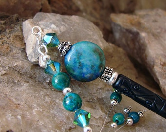 Chrysocolla Gemstones and Crystals Hair Stick - Blue Green with Chrysocolla, Swarovski Crystals Geisha Hair Stick Pin - Dania