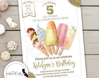 Ice Cream Birthday Party Invitation, Watercolor Invite, Blush Pink Gold, Glitter, Pastel, Printed or Printable Invitations, Free Shipping
