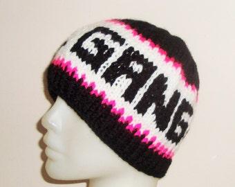 GIRL GANG  Personalized Teen Girls Hat in Black, White, Pink Girlfriend Gift