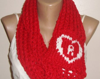 R Personalized Womens Gift, Red Scarf, infintiy scarf, Hand Knit Scarf, womens scarves, personalised mum, initial gifts
