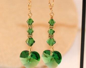 Earrings. Crystal Earrings. Swarovski Crystal Earrings. Heart Earrings. Green Crystal Earrings