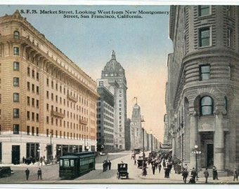 Market Street looking West San Francisco California 1910s  postcard