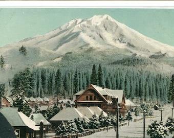 Mt Shasta California Winter Snow Scene 1910c postcard