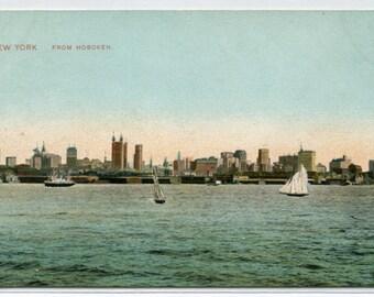 Skyline New York City NYC NY from Hoboken 1907c postcard