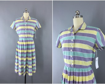 Vintage 1950s Dress / 50s Day Dress / New Look Dress / Pastel Stripes Striped / Cotton Shirtwaist Dress / Size Small S