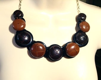 Show Stopper in Leather button necklace