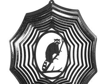 Raccoon Black Swirly Metal Wind Spinner