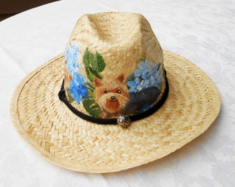 Yorkies Cowboy Hat ~ Painted to Order ~ Yorkies and Hydrangeas ~ Hand Painted Hat ~ Yorkie Lover Gift