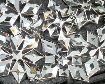 Star Sun Catcher SET of 6 Beveled Stained Glass Snowflake Suncatcher Handmade OOAK