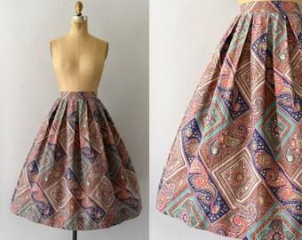 1950s Vintage Skirt - 50s Colorful Cotton Full Skirt