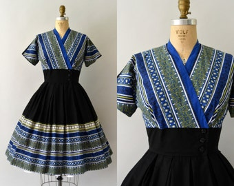 1950s Vintage Dress - 50s Egyptian Novelty Print Cotton Wrap Dress