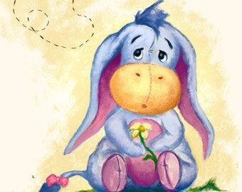 Winnie the Pooh - Baby Eeyore Illustration Art Print