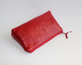 Small Leather Pouch. Leather Bag. Leather Make-Up Bag. Leather Cosmetic Bag in Red Crocodile Embossed Lambskin