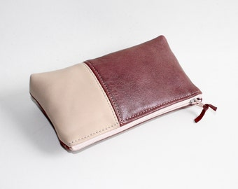 Small Leather Pouch. Leather Bag. Leather Make-Up Bag. Leather Cosmetic Bag in Antique Rose Pink and Light Pink
