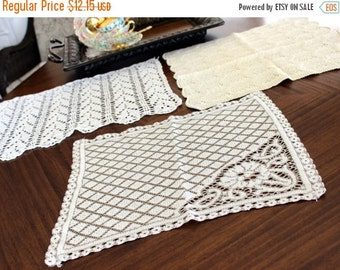 3 Crochet and Lace Doilies - Vintage Knit Doily, Off White to Cream Lot 13299