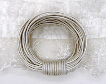 Silver Metallic, Ivory White Metalic Pearl Genuine Round Leather Cord 2mm, Greek High Quality Leather Cord- 2 Yards /1,85 m approx.