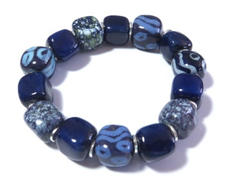 Beaded Bracelet, Kazuri Bangle, Fair Trade, Ceramic Jewelry, Navy Blue and Cornflower Blue