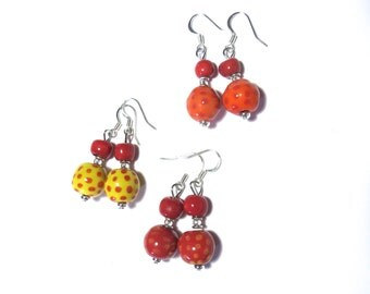 Kazuri Earrings, Red Orange and Yellow Ceramic Earrings