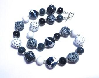 Kazuri Bead Necklace, Ceramic Necklace, Fair Trade Beads, Denim Blue, Navy Blue and White