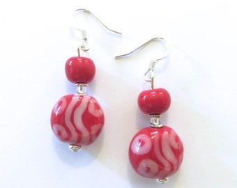 Kazuri Earrings, Red and White Earrings