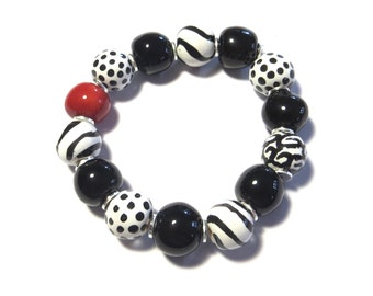 Beaded Bracelet, Kazuri Bangle, Fair Trade, Ceramic Jewellery, Black and White with a dash of Red Bracelet