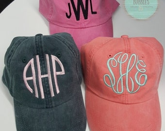INCLUDES MONOGRAM* Monogrammed Pigment Dyed Adams Baseball Caps