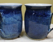 Large Blue Stoneware Mugs (set of 2)