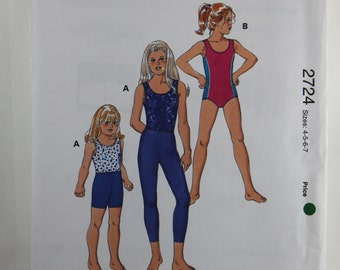 Kwik Sew 2724, Girls' Leotards, Leggings and Shorts Sewing Pattern, Dance Leotards Pattern, Sewing Pattern, Girls' Sizes 4, 5, 6, 7, Uncut