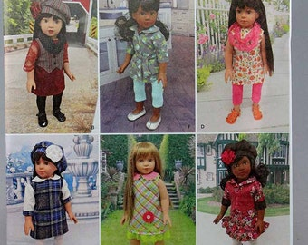 "Simplicity 1089, 18"" Doll Clothing Sewing Pattern, Doll Dress, Vest, Hat, Leggings, 18"" Doll Pattern, New and Uncut"