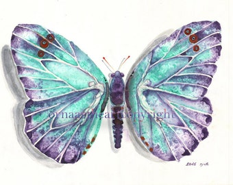 26 colorful butterflies, Turquoise Purple Butterfly A3  Print, Includes Another 25 Butterfly For Your Decorations Ideas Crafts On A4