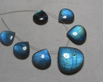 LABRADORITE - AAAA - High Quality So Gorgeous Beautiful - Smooth Polished Heart Shape Briolettes Drilled Huge size - 16 - 28 MM - 7 Pcs