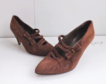 Via Spiga Shoes Brown Suede Heels 5 B Vintage 80s Italy Leather