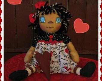 OOAK Valentine's Day XOXO Raggedy Annie Doll