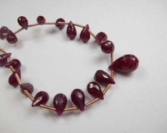 Preciouos gemstone, Natural Ruby Briolettes,  Faceted Large Brio Beads,  8x5mm ,  Top drilled Priced Per BEAD